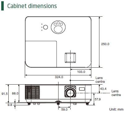 اندازه و ابعاد پروژکتور v303x